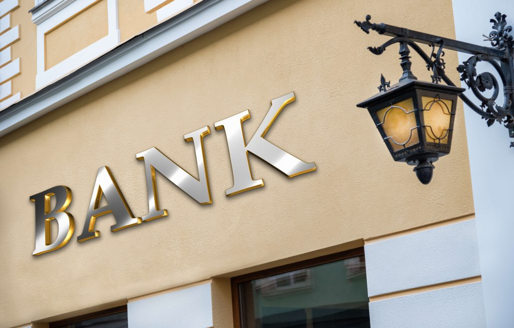 Sign of a bank in gold